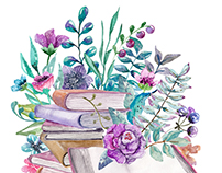Violet and pink watercolor flowers and books