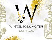 Scandinavian winter folk alphabet & graphics + freebie