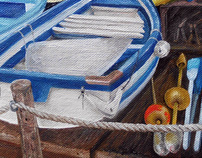 Italian boat grotto, oil painting