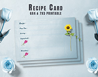 Free Recipe Card Printable Template V13
