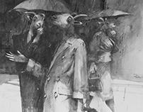 Rain? graphite and wash 103 x 66 cm