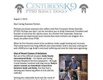 Sponsorship Letter - Centurion K9 PTSD Dog Services