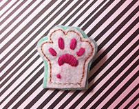 handmade embroidery cat paw
