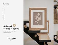 Artwork Wooden Frame Mockup