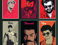 Tamil Stars Illustration Poster