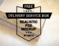 Delivery Service Box - Free PSD Mockup