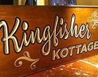 Kingfisher Kottage carved wood sign - Trailsigns