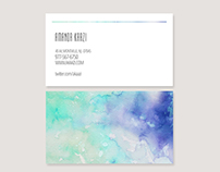Watercolor Styled Business Card Template V1
