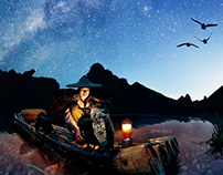 Fisherman and Milky way - Photo Manipulation