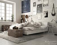 Nordic Style Bedroom Interior Visualization