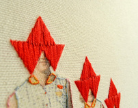 Red Paper hat- hand made embroidery
