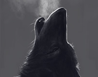 Drawing of wolf done with Cintiq 27QHDT