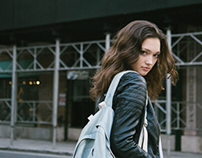 The girl with the denim bag