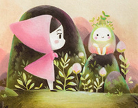 Pink riding hood and the little creature