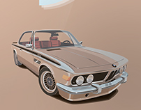 BMW E9. Vector illustration