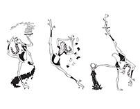 Goofy Waitress Tricons - Vector Illustration