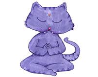 Cat and Yoga Illustrations
