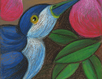 blue magpie and peach