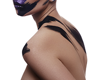 Beauty Woman with deep purple Paint  and bold Strokes