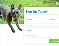 BarkMart Sign Up Form Website Layout and Form Mockup