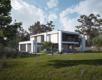 MODERN HOUSE ON SQUARE IN THE FOREST