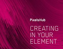 PixelsHub. Corporate identity. Interior design