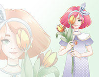 Girl with tulips.