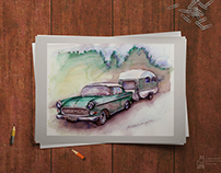 Vintage Opel. Handmade, watercolour.