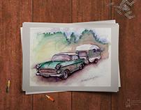 Vintage Opel. Handmade, watercolour.