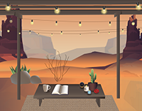 Desert Sunset (Still Life Illustration)