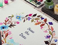 Watercolor spring frame