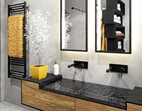 #black #yellow #grey #wood #bathroom