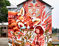 """Red Panda"", mural in Chaling, China."