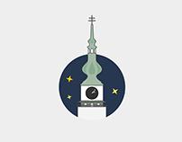 Flat icons of sights in Třebíč