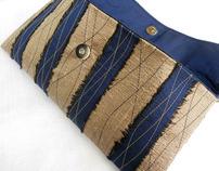 Silk Dupioni Striped Evening Clutches