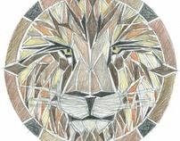Stone Tile Inlay --Lion Floor Medallion