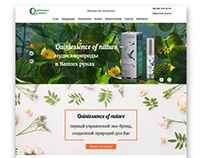 Landing page for store of natural cosmetics
