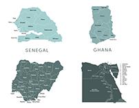 Africa & Asia Map Vectors