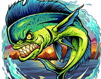 Angry Mahi-Mahi Fish Jumping Out of Water