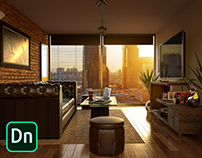 Contemporary Living Space - 3D Scene in Dimension CC