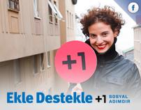 Ekle Destekle +1 Sosyal Adım Facebook