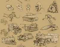 Ink Illustrations - From Bugs to Tanks