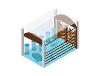 Isometric design illustration - Aquarium Library