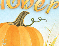 October Pumpkin Illustration & Lettering