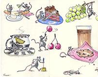Snack Time - Mice Foodie Art by Joana Miranda