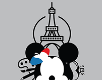 Mickey Mouse in Paris T-shirt designs