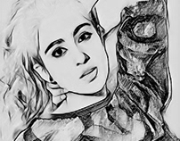 Sara Ali Khan charcoal art