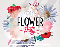 Flower Party - Floral PSD Free Flyer Template