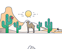 Vector material style landscapes in Sketch