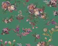 Gather flowers (illustration , pattern design)
